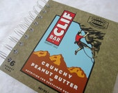 Upcycled Notebook/Recycled Notebook made from Clif Bar box (Crunchy Peanut Butter), 50 sheets/100 pages