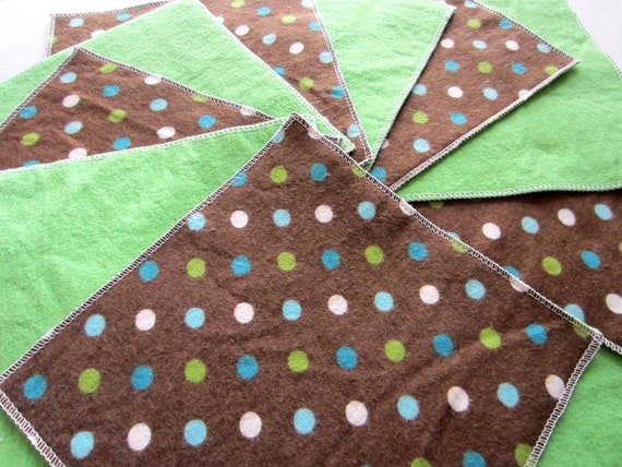 Flannel Cloth Diaper Wipes for Baby, Polka Dot Brown and Green (10)
