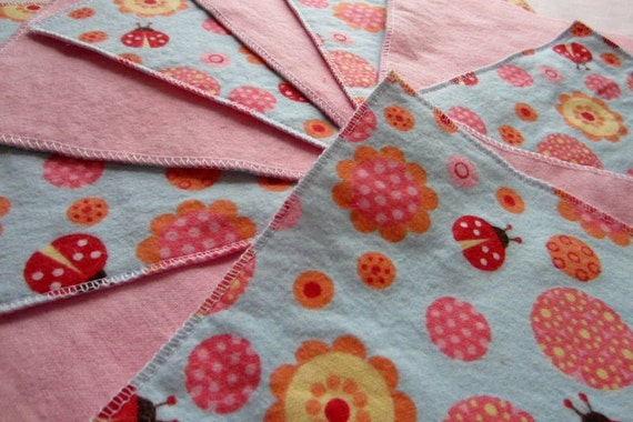 Diaper wipes/Flannel washcloths/ Cloth diaper Wipes for Baby, Ladybugs and Flowers on Blue and Pink (10)