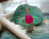Coral Branch Necklace with Hot Pink Gem