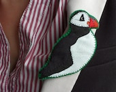 Puffin Bird Brooch, fabric appliqué