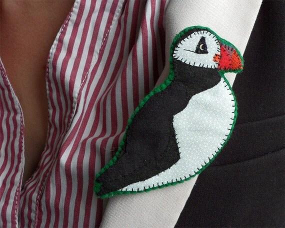 Puffin Bird Brooch, fabric appliqué