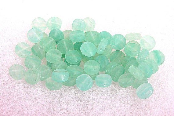 RESERVED FOR JENNY-P pressed glass coin disc beads sea foam green 3 mm x 6 mm 45 beads