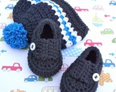 Crocheted Baby Shoes and Beanie Hat Gift Set - 0/3 Months Size