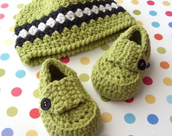 Crochet Baby Hat, Boy Baby Loafers, Crochet Baby Beanie, Crochet Baby Shoes, Baby Boy Beanie, Crochet Booties, 3 to 6 Months