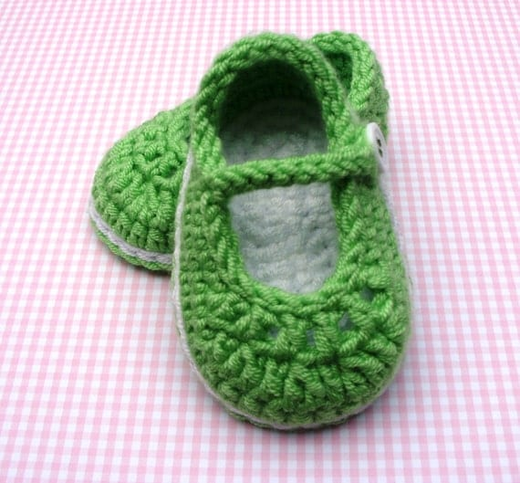 Crocheted Mary Jane Shoe Booties 0/3 Months Size READY TO SHIP