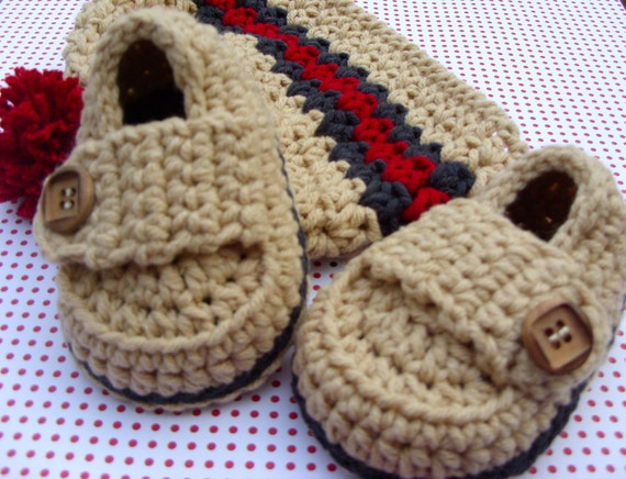 Baby Boy Hat Modern Booties Gift Set Size 0/3 Months