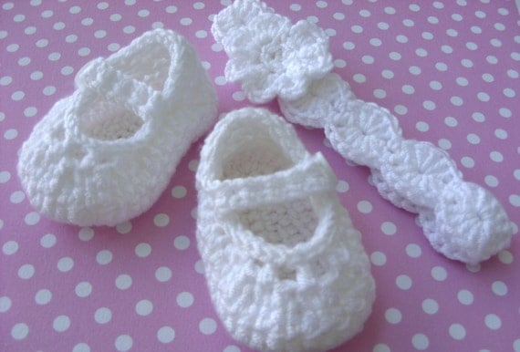 White Baby Shoes and Headband Crocheted Gift Set - Size 0/3 mo