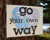 "TEACHER APPRECIATION 8x10  ""Go your own way""   Fleetwood Mac canvas with atlas"