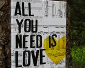 """8x10  """"All you need is love""""  The Beatles - yellow heart on vintage sheet music"""