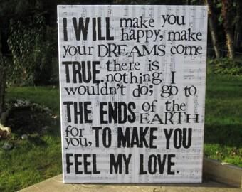 "16x20 ""Make you feel my love "" Bob Dylan Vintage music sheet canvas art"
