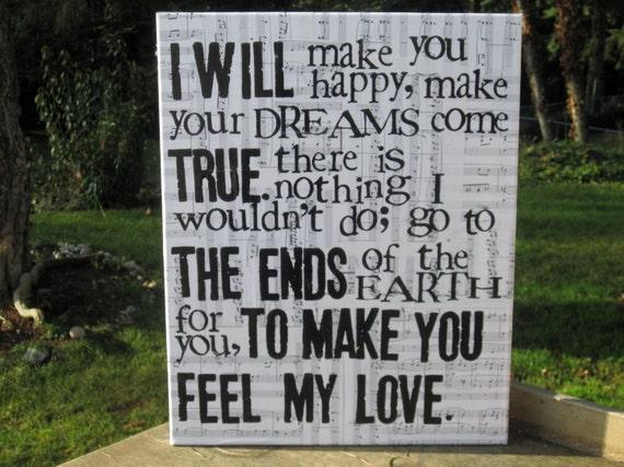 "16x20 ""Make you feel my love "" Adele  Vintage music sheet canvas art"