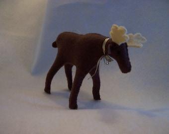 Brown Felt Moose Ornament