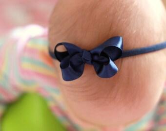 Baby Girl Bows - Navy Blue Boutique Bow Handmade Headbands