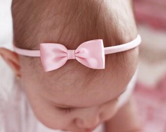 Headband, Baby Headbands, Hair bands, Flower Girl Headband, Girl Headbands, Newborn Headbands - Small Satin Soft Pink Bow - Golden Beam