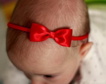 Christmas Red Baby Headbands Bows - Flower Girl Headband - Small Satin Red Bow Handmade Headband