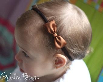 Baby Headbands Bows - Flower Girl Headband  - Small Satin Brown Bow Handmade Headband