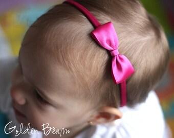 Flower Girl Headband, Baby Headbands, Hair bands, Headband, Girl Headbands, Newborn Headbands - Small Satin Hot Pink Bow - Golden Beam