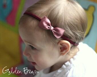 Dusky Rose Baby Headbands Bows - Flower Girl Headband - Small Satin Dusky Rose Bow Handmade Headband
