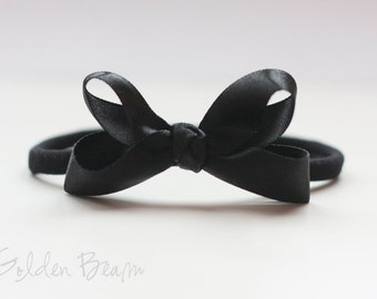 Baby girl Bows - Flower Girl Headband - Black Boutique Bow Handmade Headbands