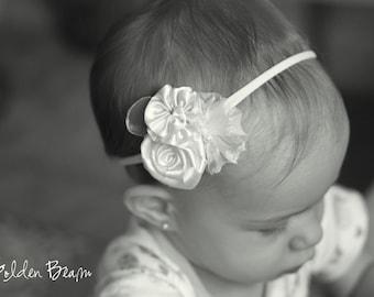 Flower Girl Headband -  Three white Flowers Bouquet Handmade Headband