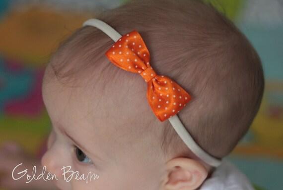 Nectarine Polka Dot Baby Bow - Orange Polka Dot Bow Handmade Headband - Baby to Adult Headband
