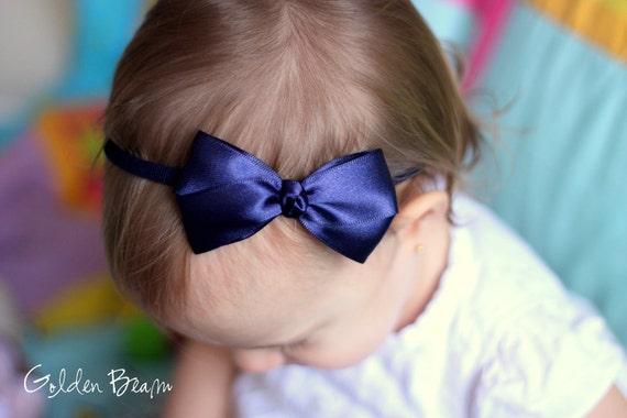 Navy Baby Bows - Sweet Navy Satin Bow Baby Handmade Headband