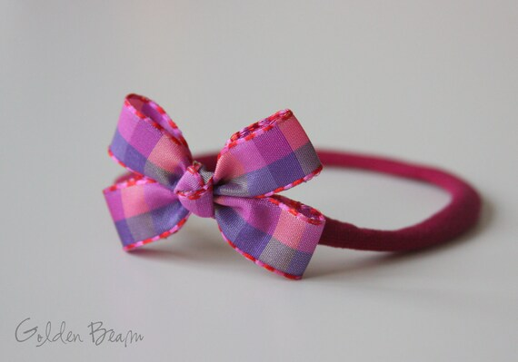 Baby Gingham Bows - Pink and Purple Gingham Bow  Handmade Baby Headband