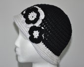 Flapper Style Hat with two flowers