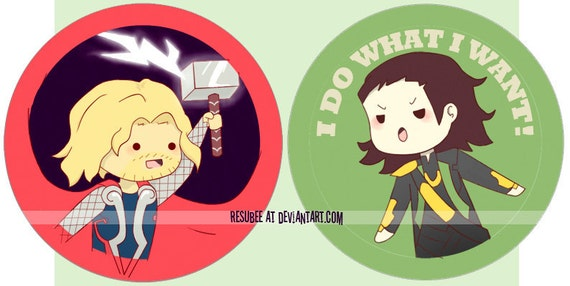 thor and loki buttons