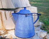 Enamelware Coffee Pot - Large Blue Graniteware Tea Kettle