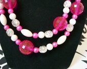 Mid Century  Pink Beaded Necklace Opera Length 20 PERCENT off use: MEMORIAL DAY20