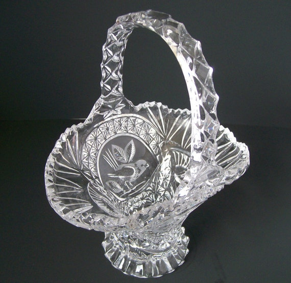 Lead Crystal Basket - Hofbauer Byrd (Bird) Basket  STUNNING