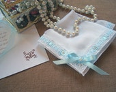 Something Blue Bridal Hanky, Personalized Bridesmaids Gifts, Wedding Hanky with Satin Ribbon and Swarovski Crystals - Provence