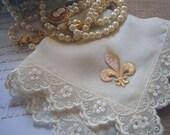 Fleur de Lis Wedding Hanky, Ivory or White Silk Handkerchief with Lace, All-around Swaroski Crystals and Golden Fleur-de-lis, New Orleans