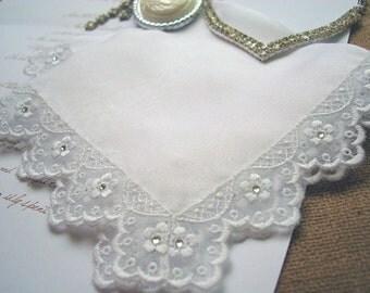 Swarovski lace handkerchief Wedding hanky Gift for bride Silk handkerchief Mother of the bride hankie Mother of the groom gift Bridal hanky