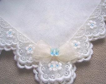 Something Blue Bride Wedding Hanky - Butterfly Princess - Ivory Silk Hanky with Embroidery Lace, Blue Swarovski Crystals&Swarovski Butterfly