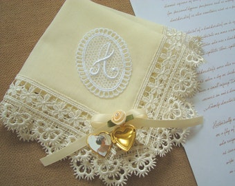 Grandmother wedding gift Hanky Personalized grandmother gift Monogram hankie Ivory handkerchief Grandma gift Grandmother handkerchief