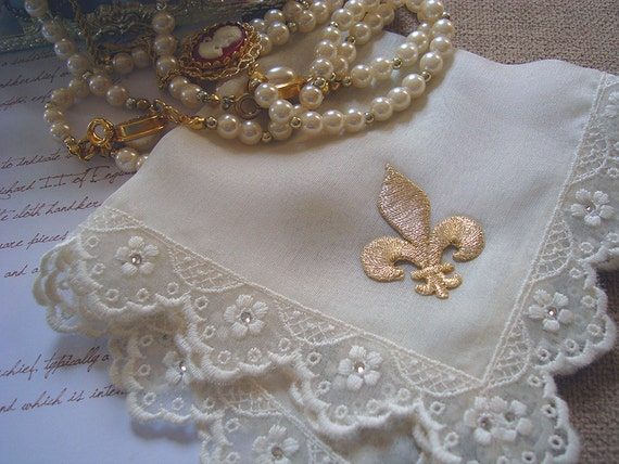 Fleur de Lis Wedding Hanky, Ivory or White Silk Handkerchief with Lace, All-around Swaroski Crystals and Golden Fleur-de-lis, New Orleans