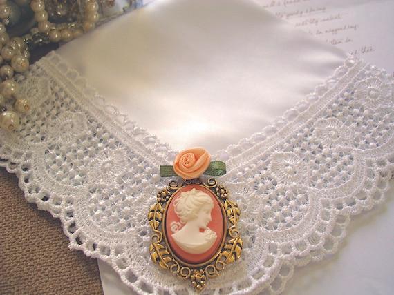 Grandmother Wedding Gift: Items Similar To Cameo Wedding Hanky, Bridal Shower Gift