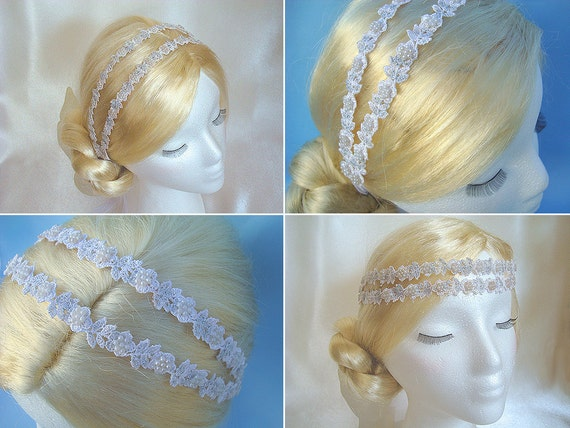 White Flower Lace Bridal Headband, Pearl Double Headband, Ribbon Headband Bride Head Piece, Silver Bridal Hair Accessories - Stardust