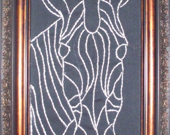 Zebra in Outline - Hand Embroidered Wall Art