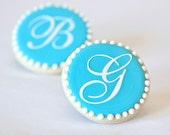 Wedding Cookie Favors - Monogram Letter - 1 doz. - Bridal Shower Favor - Vintage Script Initial Personalized