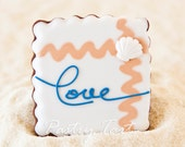 Square Beach Wedding Shower Love Forever Cookie Favors with Scallop // 1 doz. // Wedding Favors Beach // Bridal Shower Favors