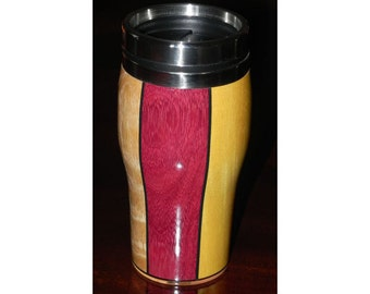 Wooden Travel Mugs with Stainless Steel Liners from Wooden Illusions by Bowman 16oz