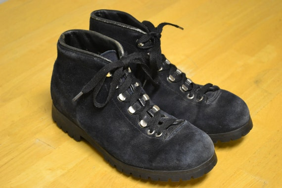 Vintage Lace Up Fabiano Mountaineering Hiking Boots Blue