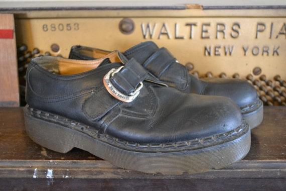 Vintage Doc Marten Black Leather Shoes with Buckle, Mens UK 10, US 11