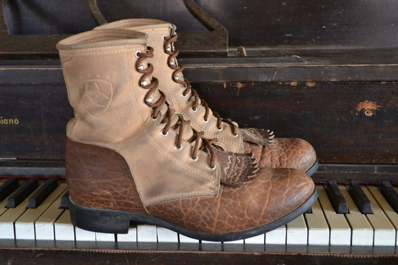 Two Tone Leather Roper Boots by Ariat Mens 8