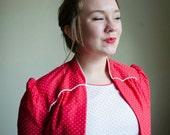 Plus Size Red and White Polka Dot Secretary Dress and Jacket