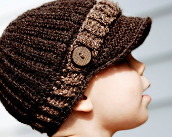 Infant to Toddler Boy Crochet Newsboy Cap--Dark Brown with light brown strap